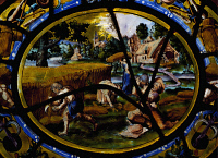 0337563 © Granger - Historical Picture ArchiveDECORATIVE ARTS.   Stained glass window depicting the months of August and the harvest, enamelled glass from the Church of Montigny. France, 17th century. Full credit: De Agostini / G. Dagli Orti / Granger, NYC -- All rights reserved.