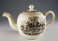 0337745 © Granger - Historical Picture ArchiveDECORATIVE ARTS.   Teapot with fox hunting scenes, ca 1760, ceramic, Staffordshire manufacture. England, 18th century. Full credit: De Agostini / A. Dagli Orti / Granger, NYC -- All Rights Reserved.