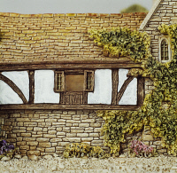 0337809 © Granger - Historical Picture ArchiveDECORATIVE ARTS.   The George Inn, miniature, ceramic, Lilliput Lane manufacture, Carlisle, Cumbria. Detail. England, 20th century. Full credit: De Agostini / G. Cigolini / Granger, NYC -- All Rights Reserved.