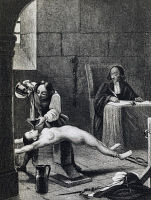 0338416 © Granger - Historical Picture ArchiveHISTORY.   Affair of the Poisons, Marie-Madeleine d'Aubray, Marquise de Brinvilliers (1630-1676) in the interrogation room, engraving, 19th century. France. Full credit: De Agostini Picture Library / Granger, NYC -- All rights reserved.