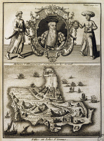 0338451 © Granger - Historical Picture ArchiveHISTORY.   Alfonso de Albuquerque (1453-1515) and Hormuz island, engraving from Discoveries and conquests of the Portuguese in the New World, by Joseph-Francois Lafitau (1681-1746), 1733. Persian Gulf, 16th century. Full credit: De Agostini Picture Library / Granger, NYC -- All rights reserved.