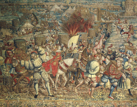 0338682 © Granger - Historical Picture ArchiveHISTORY.   Battle of Pavia, French invasion of the entrenched camp and escape the ladies in the wake of Francis I, February 24, 1525, Flemish tapestry based on tapestry cartoons by Bernaert van Orley (1488-1492-1541-1542), from 1528 to 1531, 440x818 cm. Detail. Fourth War of Italy, Italy, 16th century. Full credit: De Agostini / A. Dagli Orti / The Granger C