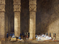 0338737 © Granger - Historical Picture ArchiveHISTORY.   Breakfast in an Egyptian temple, from Empress Eugenie of France's journey in Egypt, on the occasion of the inauguration of the Suez Canal, 1869, by Charles Theodore Frere (1814-1888), watercolour. Egypt, 19th century. Full credit: De Agostini Picture Library / Granger, NYC -- All rights r