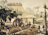 0339116 © Granger - Historical Picture ArchiveHISTORY.   Domestic activities in Coupang, Timor Island, watercolour from Journey around the world, 1817-1820, by Louis de Freycinet (1779-1842). Indonesia, 19th century. Full credit: De Agostini / M. Seemuller / Granger, NYC -- All rights