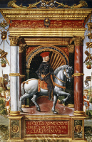 0339207 © Granger - Historical Picture ArchiveHISTORY.   Equestrian portrait of Muzio Attendolo Sforza (Cotignola, 1369-Pescara, 1424), soldier of fortune, miniature from Giovanni Pietro Birago's (active 1471-1513) workshop. Full credit: De Agostini / J. E. Bulloz / Granger, NYC -- All Rights Reserved.