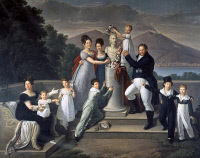 0339331 © Granger - Historical Picture ArchiveHISTORY.   Francis I of the Two Sicilies (Naples, 1777-1830), King of the Two Sicilies and his family, a tribute to the father of Francis Ferdinand I to the sixty-ninth birthday, 1820, oil on canvas, 47x70 cm. Full credit: De Agostini / R. Pedicini   / Granger, NYC -- All rights reserved.
