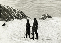 0339367 © Granger - Historical Picture ArchiveHISTORY.   Fridtjof Nansen (1861-1930) meets Frederick George Jackson (1860-1938), 17 June 1896, Cape Flora, Franz Josef Land, engraving from a photograph of the North Pole expedition of 1893-1896. Arctic, 19th century. Full credit: De Agostini Picture Library / Granger, NYC -- All rights reserved.