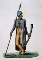 0339506 © Granger - Historical Picture ArchiveHISTORY.   Guebe Island warrior, Moluccas, engraving by Roger from a drawing by Jacques Arago (1790-1855), from the Journey around the world, 1817-1820, by Louis de Freycinet (1779-1842). Indonesia, 19th century. Full credit: De Agostini / G. Dagli Orti / Granger, NYC -- All rights reserved.