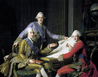 0339515 © Granger - Historical Picture ArchiveHISTORY.   Gustav III of Sweden (Stockholm, 1746-1792), King of Sweden with his brothers Frederick Adolf of Sweden (Drottningholm, 1750-Montpellier, 1803), Swedish Prince and Duke of Ostergoland and Charles XIII of Sweden (Stockholm, 1748-1818), King of Sweden and Norway from 1809. Painting by Alexander Roslin (1718-1793. Full credit: De Agostini / A. Dagli