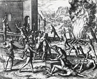 0339580 © Granger - Historical Picture ArchiveHISTORY.   Hernando de Soto (ca 1496-1542) committing atrocities against Indians in Florida, engraving from Peregrinationes, by Theodor de Bry (1528-1598). North America, 16th century. Full credit: De Agostini Picture Library / Granger, NYC -- All Rights Reserved.