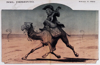 0339664 © Granger - Historical Picture ArchiveHISTORY.   In the desert, caricature of the Foreign Minister, Pasquale Stanislao Mancini (1817-1888), from The Pasquino, December 21, 1884. Italy, 19th century. Full credit: De Agostini Picture Library / Granger, NYC -- All rights reserved.