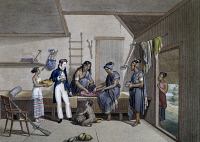 0339715 © Granger - Historical Picture ArchiveHISTORY.   Interior of a house in Coupang, Isle of Timor Coupang, engraving from a painting by Alphonse Pellion (active 1816-1820), from Journey around the world, 1817-1820, by Louis de Freycinet (1779-1842). Indonesia, 19th century. Full credit: De Agostini / G. Dagli Orti / Granger, NYC -- All rig