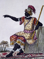 0339829 © Granger - Historical Picture ArchiveHISTORY.   King of Loango, colour engraving from a drawing by Labrousse (active 1796), from Encyclopedia of voyages, by Jacques Grasset de Saint-Sauveur (1757-1810), 1795-1796. Africa, 18th century. Full credit: De Agostini / G. Dagli Orti / Granger, NYC -- All rights reserved.