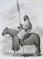 0339858 © Granger - Historical Picture ArchiveHISTORY.   Lancer of the Sultan of Begharmi, engraving by Finden, from a drawing by Dixon Denham, from Travels in Africa, 1822-1824, by Dixon Denham, Hugh Clapperton and Walter Oudney. 19th century. Full credit: De Agostini / M. Seemuller / Granger, NYC -- All rights reserved.