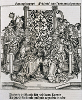 0340024 © Granger - Historical Picture ArchiveHISTORY.   Meeting between Pope Pius II and Frederick III, Emperor of Germany, engraving. 15th century. Full credit: De Agostini Picture Library / Granger, NYC -- All rights reserv