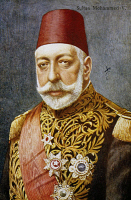 0340035 © Granger - Historical Picture ArchiveHISTORY.   Mehmet (Muhammad) V (Istanbul, 1844-1918), Sultan of the Ottoman Empire, military propaganda postcard. Turkey, 20th century. Full credit: De Agostini / A. Dagli Orti / Granger, NYC -- All Rights Reserved.