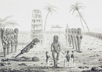0340079 © Granger - Historical Picture ArchiveHISTORY.   Morai of the king at Kayakakoua, engraving based on a drawing by Jacques Arago (1790-1855), from Journey around the world, 1817-1820, by Louis de Freycinet (1779-1842). Polynesia, 19th century. Full credit: De Agostini Picture Library / Granger, NYC -- All rights reserved.