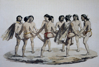 0340108 © Granger - Historical Picture ArchiveHISTORY.   Naked men's dance on the island of Campbell, watercolour from Voyage around the world, 1817-1820, by Louis de Freycinet (1779-1842). New Zealand, 19th century. Full credit: De Agostini Picture Library / Granger, NYC -- All rights