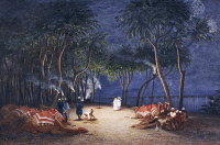 0340236 © Granger - Historical Picture ArchiveHISTORY.   Overnight camp on the banks of the Nile, from Empress Eugenie of France's journey in Egypt, on the occasion of the inauguration of the Suez Canal, 1869, by Charles Theodore Frere (1814-1888), watercolour. Egypt, 19th century. Full credit: De Agostini Picture Library / Granger, NYC -- All Rights Reserved.