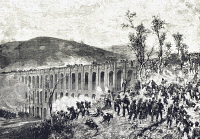 0340264 © Granger - Historical Picture ArchiveHISTORY.   Partisan attack on the bridges in Valle during the battle of Volturno, October 1-2, 1860, drawing by Eduoardo Matania. Expedition of the Thousand, Italy, 19th century. Full credit: De Agostini Picture Library / Granger, NYC -- All Rights Reserved.