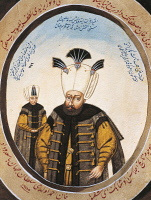 0340410 © Granger - Historical Picture ArchiveHISTORY.   Portrait of Ahmed III (Istanbul, 1673-1736), Sultan of the Ottoman Empire, with a prince, watercolour. Full credit: De Agostini / G. Dagli Orti / Granger, NYC -- All rig