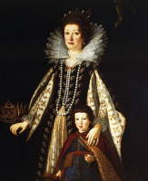 0340550 © Granger - Historical Picture ArchiveHISTORY.   Portrait of Archduchess Maria Maddalena of Austria with her son Ferdinand II (1610-1670) (Graz, 1589-Padua, 1631), Grand Duchess of Tuscany, wife of Cosimo II de Medici. Full credit: De Agostini / G. Nimatallah / Granger, NYC -- All Rights Reserved.