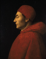 0340564 © Granger - Historical Picture ArchiveHISTORY.   Portrait of Ascanio Sforza (Cremona, 1455-Rome, 1505), Italian cardinal, painting by an unknown 15th century Lombard artist which has been attributed to Vincenzo Foppa, 1484-1490, tempera on panel, 48.7 x 40 .7 cm. Full credit: De Agostini / M. Carrieri / Granger, NYC -- All rights reserv