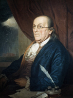 0340615 © Granger - Historical Picture ArchiveHISTORY.   Portrait of Benjamin Franklin (Boston, 1706-Philadelphia, 1790), American scientist and politician. Painting by Charles Willson Peale (1741-1827). Full credit: De Agostini Picture Library / Granger, NYC -- All rights reserved.