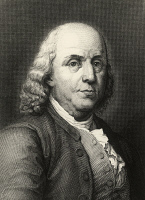 0340617 © Granger - Historical Picture ArchiveHISTORY.   Portrait of Benjamin Franklin (Boston, 1706-Philadelphia, 1790), writer, scientist and politician, engraving. United States, 18th century. Full credit: De Agostini Picture Library / Granger, NYC -- All rights reserved.