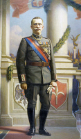 0341409 © Granger - Historical Picture ArchiveHISTORY.   Portrait of His Majesty Victor Emanuel III (Naples, 1869-Alexandria, 1947), King of Italy, by Angelo Vernazza (1869-1937), oil on canvas, 97x70 cm. Full credit: De Agostini / L. Visconti / Granger, NYC -- All rights reserved.