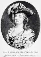 0341688 © Granger - Historical Picture ArchiveHISTORY.   Portrait of Lorenza Feliciani known as Serafina (born 1754), Countess of Cagliostro, wife of Count Alessandro of Cagliostro (pseudonym Giuseppe Balsamo, 1743-1795) 1786, engraving 18th century. Full credit: De Agostini Picture Library / Granger, NYC -- All rights reserved.