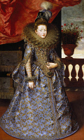 0341811 © Granger - Historical Picture ArchiveHISTORY.   Portrait of Margherita of Savoy (Turin, 1851-Bordighera, 1926), daughter of Charles Emmanuel I, Duke of Savoy, painting by Frans Pourbus the Younger (1569-1622), oil on canvas, 206.5 x16.3 cm. Full credit: De Agostini / G. Nimatallah / Granger, NYC -- All rights reserved.
