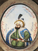 0342062 © Granger - Historical Picture ArchiveHISTORY.   Portrait of Osman I (Sogutt, 1258-1326), founder of the Ottoman dynasty and the first Sultan of the Ottoman Empire, watercolour, 19th century. Full credit: De Agostini / G. Dagli Orti / Granger, NYC -- All rights reserved.