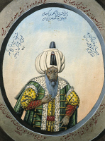 0342333 © Granger - Historical Picture ArchiveHISTORY.   Portrait of Suleiman, the Magnificent (Trabzon, 1494-Szigetvar, 1566), Sultan of the Ottoman Empire, watercolour, 19th century. Full credit: De Agostini / G. Dagli Orti / Granger, NYC -- All rights reserved.