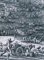 0342543 © Granger - Historical Picture ArchiveHISTORY.   Replenishing the French royal fleet during the siege of La Rochelle, stronghold of the Huguenots, 1628, engraving by Jacques Callot. France, 17th century. Full credit: De Agostini Picture Library / Granger, NYC -- All rights rese