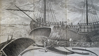 0342588 © Granger - Historical Picture ArchiveHISTORY.   Sailors flaying a whale, engraving from Mr. de Pages' expedition to the two poles, 1767-1774. 18th century. Full credit: De Agostini Picture Library / Granger, NYC -- All Rights Reserved.