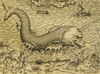 0342614 © Granger - Historical Picture ArchiveHISTORY.   Sea monster, engraving from Universal Cosmology, by Andre Thevet (1504-1592), Paris, 1575. Detail. 16th century. Full credit: De Agostini / A. Dagli Orti / Granger, NYC -- All Rights Reserved.