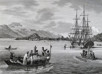 0342900 © Granger - Historical Picture ArchiveHISTORY.   The corvette Uranie at anchor in Rawak bay, engraving from Journey around the world, 1817-1820, by Louis de Freycinet (1779-1842). New Guinea, 19th century. Full credit: De Agostini / G. Dagli Orti / Granger, NYC -- All rights re