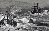 0342913 © Granger - Historical Picture ArchiveHISTORY.   The crew of the Tegetthoff freeing the ship from pack ice with saws, axes and explosives, 1872, engraving from an account of Julius von Payer's expedition (1842-1915). Arctic, 19th century. Full credit: De Agostini / G. Dagli Orti / Granger, NYC -- All rights reserved.