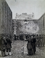 0342966 © Granger - Historical Picture ArchiveHISTORY.   The execution by firing squad of Archbishop Darboy, bishop of Paris, and other prelates, May 24, 1871, engraving. City of Paris, France, 19th century. Full credit: De Agostini Picture Library / Granger, NYC -- All rights reserved