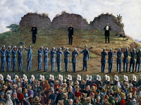 0342969 © Granger - Historical Picture ArchiveHISTORY.   The execution by firing squad of Maximilian Ferdinand of Habsburg, Emperor of Mexico, June 19, 1867. Oil painting by Odilon Rios. Mesic, 19th century. Full credit: De Agostini Picture Library / Granger, NYC -- All rights reserved