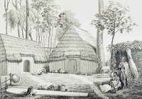 0343032 © Granger - Historical Picture ArchiveHISTORY.   The house of Kraimokou, advisor to the king, Sandwich Islands, now Hawaii, ca 1819, engraving by Alphonse Pellion (active 1816-1820) based on a drawing by Jacques Arago (1790-1855), from Journey around the world, 1817-1820, by Louis de Freycinet (1779-1842). Polynesia, 19th century. Full credit: De Agostini Picture Library / Granger, NYC -- All ri