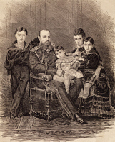 0343037 © Granger - Historical Picture ArchiveHISTORY.   The Imperial Family of Russia: Alexander III of Russia (St Petersburg, 1845-Livadiya, 1894), Maria Feodorovna (Dagmar of Denmark) daughter of the king of Denmark, and their children, Emperor of Russia, engraving. Full credit: De Agostini / M. Seemuller / Granger, NYC -- All rights reserve