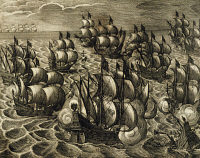 0343171 © Granger - Historical Picture ArchiveHISTORY.   The Spanish Armada under the command of Rodrigo Mendoza, engraving by Theodore de Bry (1528-1598) taken from the History of America by Theodore de Bry, 1602. Spain, 17th century. Full credit: De Agostini / A. Dagli Orti / Granger, NYC -- All Rights Reserved.