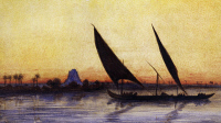 0343262 © Granger - Historical Picture ArchiveHISTORY.   Trip on the Nile by felucca, from Empress Eugenie of France's journey in Egypt, on the occasion of the inauguration of the Suez Canal, 1869, by Charles Theodore Frere (1814-1888), watercolour. Egypt, 19th century. Full credit: De Agostini Picture Library / Granger, NYC -- All rights reser