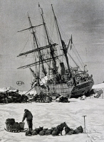 0343304 © Granger - Historical Picture ArchiveHISTORY.   Unloading material from the Stella Polare, 1899, engraving from the North Pole expedition of Umberto Cagni (1863-1932) and Luigi Amedeo of Savoy, Duke of Abruzzi (1873-1933). Arctic, 19th century. Full credit: De Agostini / G. Dagli Orti / Granger, NYC -- All rights reserved.
