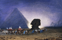 0343369 © Granger - Historical Picture ArchiveHISTORY.   Visit to the Sphinx in Giza, from Empress Eugenie of France's journey in Egypt, on the occasion of the inauguration of the Suez Canal, 1869, by Charles Theodore Frere (1814-1888), watercolour. Egypt, 19th century. Full credit: De Agostini Picture Library / Granger, NYC -- All rights reser