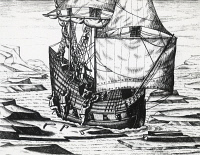 0343408 © Granger - Historical Picture ArchiveHISTORY.   William Barents' (ca 1550-1597) ship in the ice during the third Dutch expedition in search of the North-East Passage, 1596-1597, engraving from Peregrinationes, by Theodor de Bry (1528-1598). Arctic, 16th century. Full credit: De Agostini Picture Library / Granger, NYC -- All rights rese