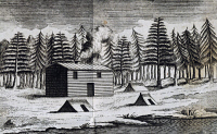 0343427 © Granger - Historical Picture ArchiveHISTORY.   Wooden hut on the shore of Hudson Bay, engraving from the Report of the trip to the Hudson Bay in search of a northwest passage between the Atlantic and the Pacific, 1746-1747, by Henry Ellis (1721-1805), published in 1748. Canada, 19th century. Full credit: De Agostini Picture Library / Granger, NYC -- All rights reserved.