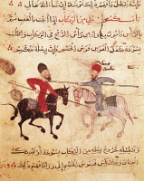 0343467 © Granger - Historical Picture ArchiveLITERATURE & THE ARTS.   A duel, miniature from a Fatimid manuscript. Full credit: De Agostini / G. Dagli Orti / Granger, NYC -- All Rights Reserved.